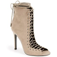 "KENDALL + KYLIE 'Ginny' Lace-Up Sandal, 4"" heel (3 090 ZAR) ❤ liked on Polyvore featuring shoes, sandals, taupe suede, laced sandals, victorian shoes, lace up shoes, taupe sandals and laced shoes"