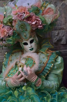 All elements of the Fat Tuesday festivities known as Mardi Gras. Throw in scantily clad women in feather. Venetian Carnival Masks, Mardi Gras Carnival, Carnival Of Venice, Venetian Masquerade, Masquerade Ball, Venice Carnivale, Venice Mask, Costume Venitien, Beautiful Mask