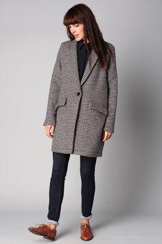 Manteau laine imprimé pied de poule Arsène Navy Sessun sur MonShowroom.com