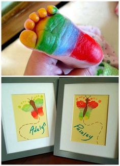 Rainbow butterfly footprint art. CUTE!