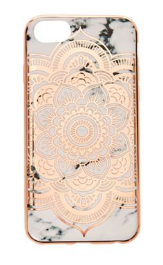 Marble print phone case features metallic rose gold edges and mandala design offer a chic look.