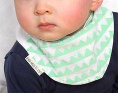 Baby bibs made of hand-printed sarashi japanese cotton fabric/mint. triangle