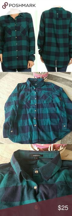 """NWOT Plaid Flannel Shirt New without tags, plaid flannel shirt. Brand: Ambiance. Size small. 100% Cotton. When laying flat from top of shoulder to bottom is 27"""" long. Across chest from armpit to armpit when buttoned is 18"""". Sleeve length: approximately 23.5"""" long. No rips, tears, flaws, or defects. Comes from a smoke free home. Final price unless bundled. No trades, no holds, thank you. Ambiance Apparel Tops Button Down Shirts"""