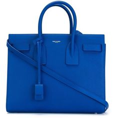 Saint Laurent small 'Sac de Jour' tote ($2,950) ❤ liked on Polyvore featuring bags, handbags, tote bags, blue, yves saint-laurent tote, genuine leather tote, blue leather tote bag, blue tote and blue leather handbag