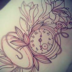 girly pocket watch tattoo - Google Search