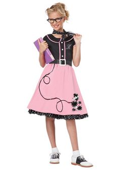 Be the coolest cat this girls Sweetheart Poodle costume. Poodle skirt dress, petticoat, neckerchief belt and letters included! Poodle Skirt Halloween Costume, Halloween Costumes For Girls, Girl Costumes, Costume Ideas, 1950s Costumes, Grease Costumes, Halloween Ideas, Costume Craze, Wolf Costume