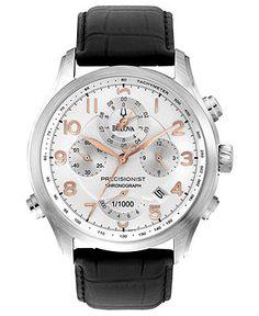 Bulova Men s Chronograph Precisionist Black Leather Strap Watch 39mm 96B182  - Men s Watches - Jewelry  amp b30a136a0f9
