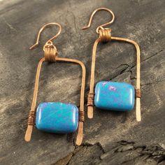 Geometric metalwork earrings - wire wrapped howlite. $22.00, via Etsy.
