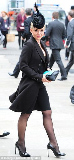 Classical singer: Katherine Jenkins seemed determined to show-off her curves in a plunging cocktail-style dress and flared overcoat Katherine Jenkins, Stylish Dresses, Cute Dresses, Fashion Dresses, Pantyhose Outfits, In Pantyhose, Hats For Women, Clothes For Women, Sexy Cocktail Dress