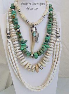 Schaef Designs Native American, Southwestern, Turquoise, bridle rosette, & denim lapis jewelry   New Mexico multi strand, antler, shell
