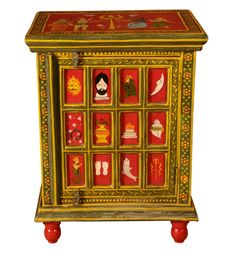 Rangilo Rajasthan Multi Designed End Table:-This mango wood bed side cabinet is a very functional piece of furniture. It has awesome painting all over its surface and is equipped with many shelves that will enhance the usefulness of it!  A welcome furniture in any household! Rs.4,899