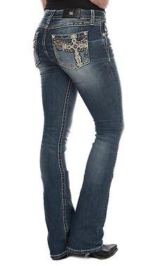 3389045ea1f Miss Me Women s Dark Wash Winged Cross Boot Cut Jeans
