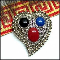 Heart Pin Silver Paisley Glass Brooch 1970s Vintage Jewelry $55