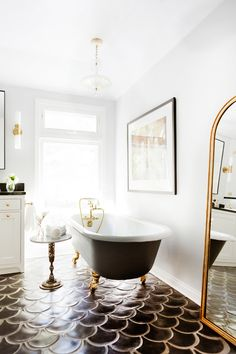 This Is Your Dream Home, According to Instagram via @MyDomaine Love the freestanding tub with gold feet
