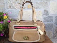 COACH Bonnie Tan Leather Satchel Shoulder HandBag Purse 13382 #Coach #Satchel