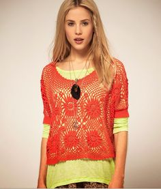 crochelinhasagulhas: Blusa coral de crochê