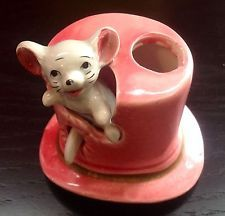 TOOTHPICK HOLDER MOUSE IN PINK TOP HAT