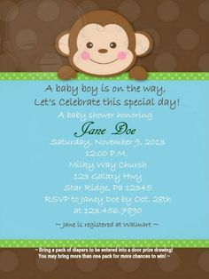 Boy Monkey Baby Shower Invitation by Martin Design