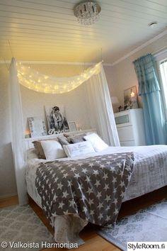 unelmientalokoti,makuuhuoneidea,makuuhuone,verhokatos,valokatos