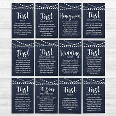 Add these Year of Firsts gift tags to a case for the newlyweds.
