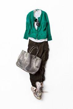 Kyoko Kikuchi's Closet / emerald green cardigan, loose cargo, silver tote