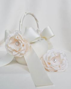 Gorgeous flower girl and hair clip set.  So simple and sweet, yet romantic.  By weddingsandsuch on etsy.
