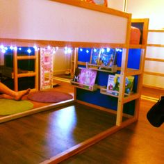 My girls' room has 2 IKEA Kura bunks in it. We use the top for sleeping and the bottom as reading nooks. We have fairy lights rigged up and I'm about to add curtains :)