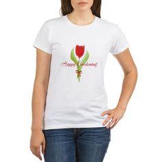 Red Tulip Happy Gardening Gardener T-Shirt, personalized message.