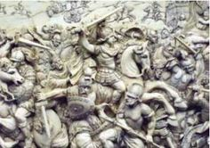 A relief depicting the Battle of Gaugamela, in which Alexander defeated Darius III of Persia.