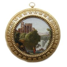 Early 19th C Italian round micromosaic plaque depicting the Temple of Vesta at Tivoli c 1810 for sale on MasterArt.com