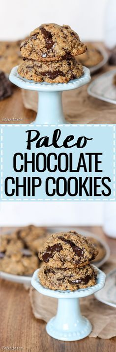 These Paleo Chocolate Chip Cookies totally nail the taste and texture of your favorite classic treat - the taste testers who tried these had no idea they were Paleo! These gluten free, dairy free, refined sugar free chocolate chip cookies give you all the Paleo Dessert, Dessert Sans Gluten, Gluten Free Desserts, Healthy Desserts, Dessert Recipes, Milk Recipes, Egg Recipes, Recipes Dinner, Potato Recipes