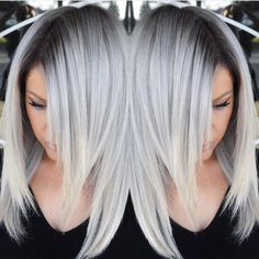Stunning Multidimensional Silver hair color design with dark shadow root by Brittnie Garcia hotonbeauty.com