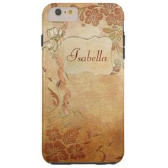 Vintage Gold Floral Personalized Tough iPhone 6 Plus Case  | Visit the Zazzle Site for More: http://www.zazzle.com/?rf=238228028496470081 [Referral Link]