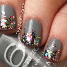 Gray Nails with Sparkle Tips by The Nailasaurus #nailart #nails #nailpolish