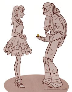 they should make an episode when it's Homecoming and April is all dressed up and she gets mixed up in whatever ordeal the turtles are in and she loses her tiara and Donnie nearly gets himself killed just to get it back for her. it would be cute!