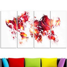 Design Art 'Firey ' Map Canvas Art Print
