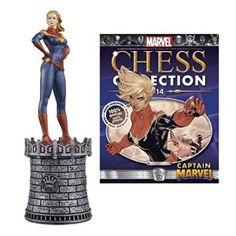 Captain Marvel White Queen Chess Piece with Magazine