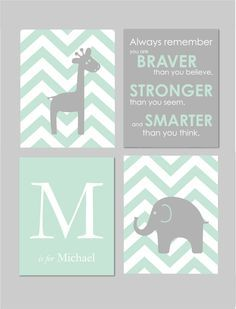 Mint and Grey Nursery Elephant Nursery Winnie the Pooh Quote Always Remember You are Braver Elephant Giraffe Nursery Set of four 8x10s by karimachal on Etsy https://www.etsy.com/listing/221934289/mint-and-grey-nursery-elephant-nursery