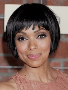 Short Hair: Tamara Taylor -- If you have a tough time getting any volume in your hair, this simple pageboy that hits at the base of the cheekbone can help you embrace your flatness. The shorter bang works really well here, making her eyes appear bigger. - Redbook