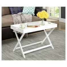 Baja Coffee Table with Removable Tray - White - Convenience Concepts : Target