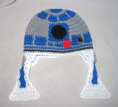 R2D2 Crochet Hat with Ear Flaps