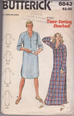Vintage Butterick 6843 Unisex Nightshirt pattern in 2 lengths by  TreasuresFromGranny on Etsy Made Clothing 2af9b3e0c