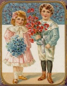 Children with bouquets of flowers