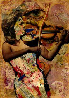 "Saatchi Art Artist CARMEN LUNA; Collage, ""32-Collagemania Carmen Luna. Anne Sophie Mutter."" #art  http://www.saatchiart.com/art-collection/Assemblage-Collage/Collagemania-CARMEN-LUNA/71968/46137/view"