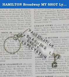 "HAMILTON Broadway MY SHOT Lyrics Keychain. Hand stamped Silver dog tag 1x2"" keychain with lyrics from MY SHOT from Hamilton the Broadway Musical."