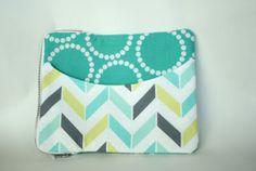iPad zipper case: turquoise bracelets & coordinating chevron and polka dots
