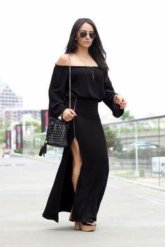 Gypsy Vibes Off -the-Shoulder Black Top: Forever 21, Side Slit Maxi Skirt MayteDoll