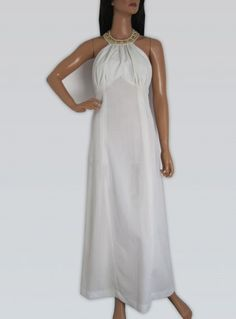 Vintage 1970s Long White & Gold Halter Neck Maxi Dress available to buy online at Virtual Vintage Clothing £30