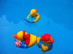 Ducky race.  Used these cute themed, inexpensive ducks and water guns for races in a little pool. Dump all in at same time, shoot to move across to a red pool noodle as the finish line.  Players keep guns and ducks as prizes.