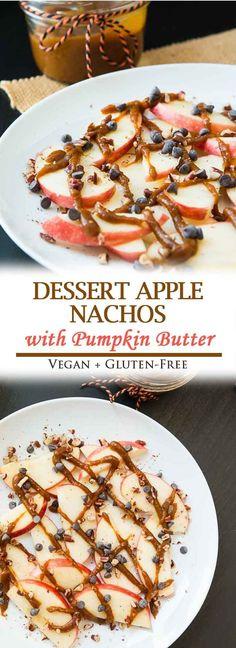 Dessert Apple Nachos with Pumpkin Butter! #vegan #glutenfree #pumpkin #vegandessert | Vegetarian Gastronomy | www.VegetarianGastronomy.com